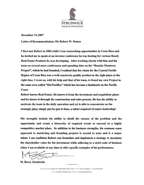 letter of recommendation for character reference military