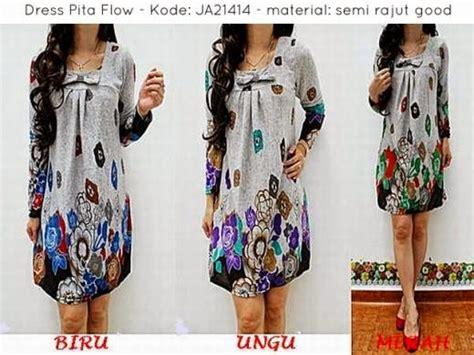Grosir Baju Dress Katun Bangkok Arimbii 2 S dress pita flow ja21414 baju gamis terbaru gamis