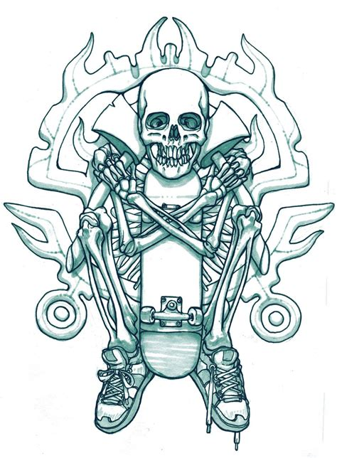 skateboard skeleton tattoo sketch best tattoo ideas gallery