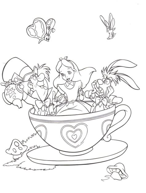 alice in wonderland coloring drawing coloring