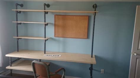 pipe desk with shelves diy pipe and wood desk with wall shelving unit idea of 17