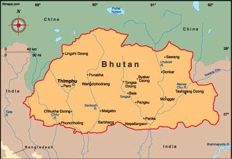 map of bhutan in world map atlas bhutan