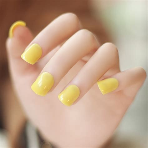 light yellow nail high quality color series light yellow color false
