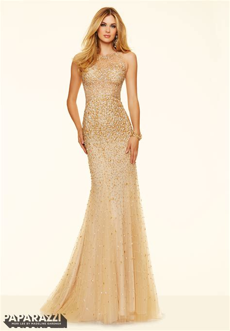 prom dresses by paparazzi prom allover beading on net