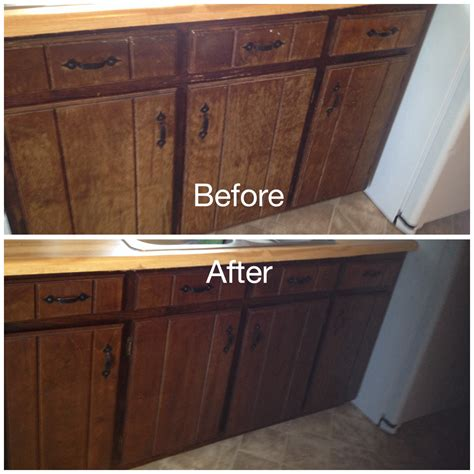 Cabinet Gel Stain by Worn Kitchen Cabinets Stained With Minwax Gel Stain In
