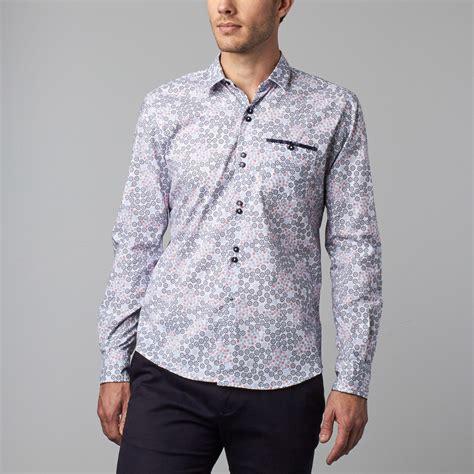 blue pattern button up floral pattern button up shirt blue s isaac b