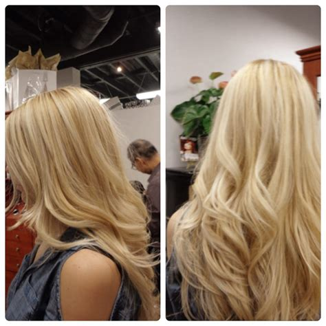 blonde base colours full highlights and light blonde base color on long thick