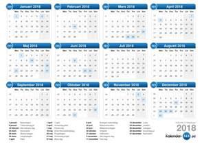 Kalender 2018 Veckonummer Kalender 2018