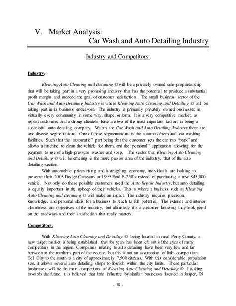 Business Letter For Car Wash Kleaving Auto Cleaning And Detailing Business Plan