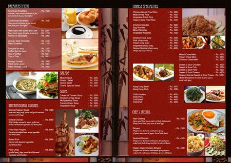 design online menu free restaurant menu templates sles and templates