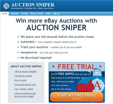 bid sniper free ebay auction sniper free free version truegload