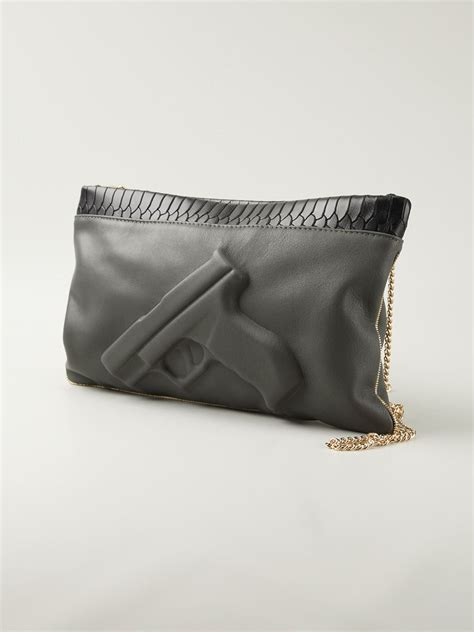 Bags From Vlieger Vandam by Vlieger Vandam Guardian Chain Bag In Gray Lyst