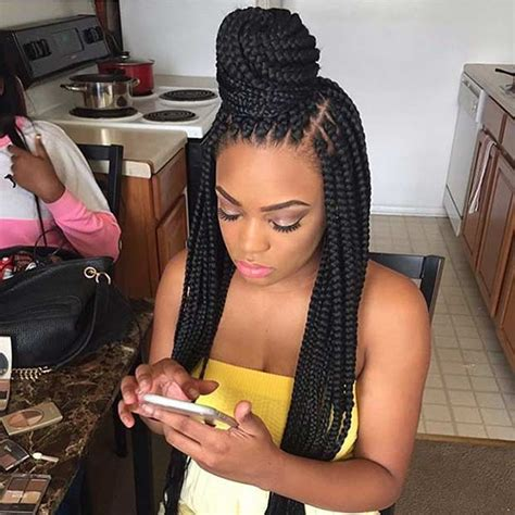 how to do a bun with braid box braids half up half down box braids bun hairstyles pretty