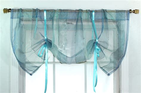 Curtains With Ribbon Ties Ribbon Sheer Azure Tie Up Valance Contemporary Curtains By Overstock