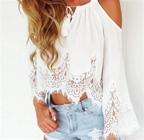 30182 Summer Lace Casual Top Top Lace Pretty Top Crochet Casual Top White