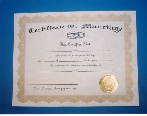 Records Marriage Certificates Certificate Of Marriage