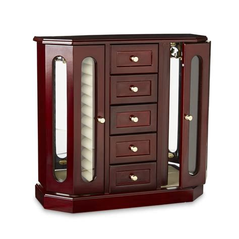 cherry wood jewelry armoire cherry wood standing jewelry box armoire chest storage