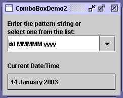 java pattern for date how to use combo boxes