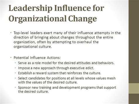 how leaders can impact organizational cultures with their actions chapter eight influence tactics of leaders ppt video