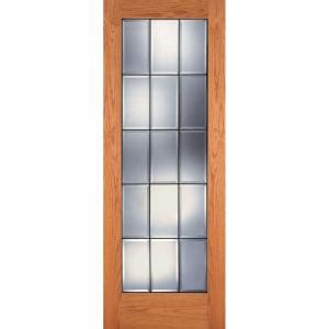 15 Lite Interior Door Feather River Doors 24 In X 80 In 15 Lite Clear Bevel Patina Woodgrain Unfinished Oak Interior