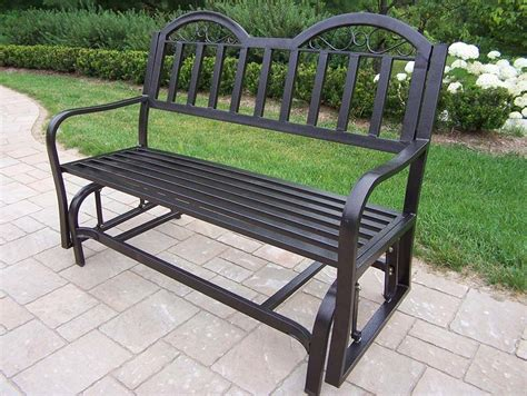 iron bench outdoor rochester tubular iron outdoor glider bench backyard mamma