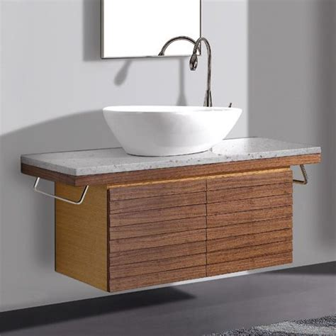 48 quot thai teak selwyn wall mount vanity cabinet with vessel