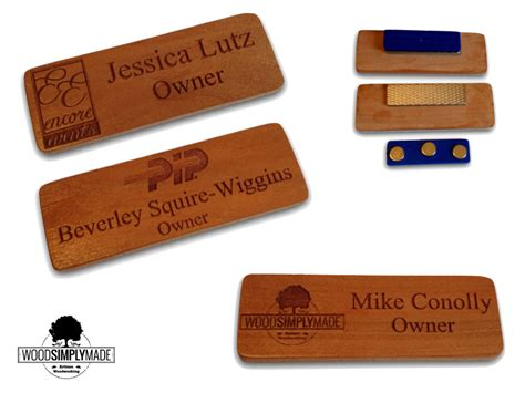 Handmade Name Badges - 10 custom wood name badges tags