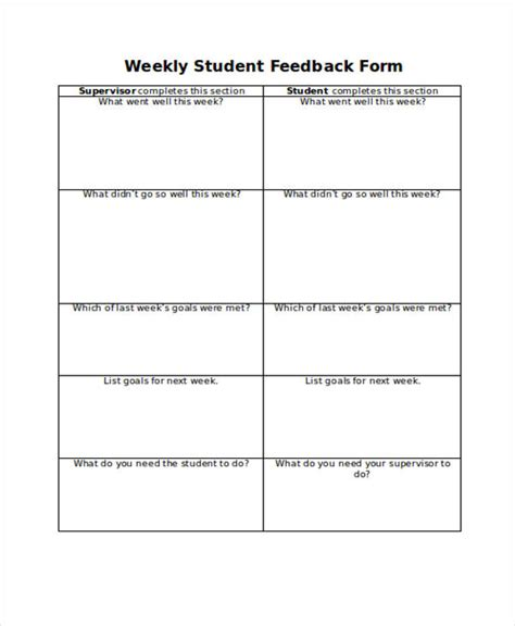 comments template 21 free student feedback forms
