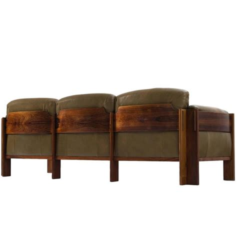 Leather For Upholstery For Sale by Scandinavian Rosewood Sofa With Green Leather Upholstery