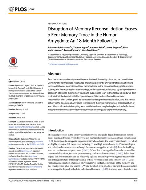 Links To Stalk 18 by Disruption Of Memory Reconsolidation Erases A Fear Memory