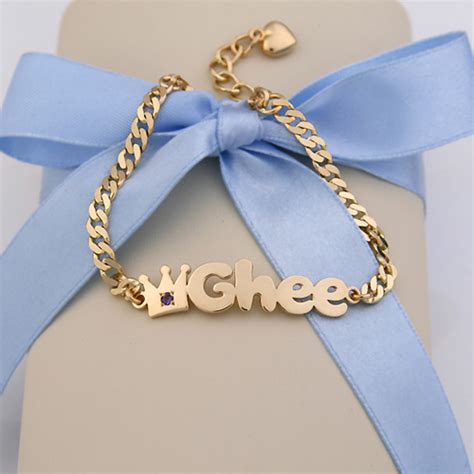 how to make baby jewelry gold baby name bracelets 14k yellow gold b01 crown name