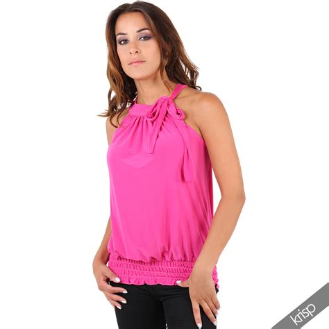 Top Blouse pleated coloured halter neck ruched top