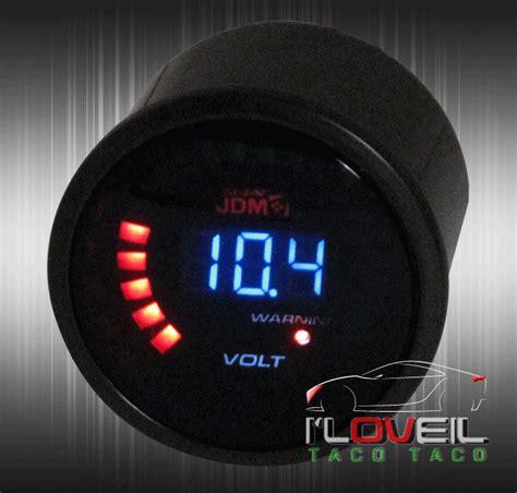 Rpmvolt Meter Digital 2 2 quot digital jdm blue led rpm volt voltage 52mm race car meter smoke honda ebay