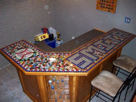 bottle cap bar top handmade bar top out of beer bottle caps ideas