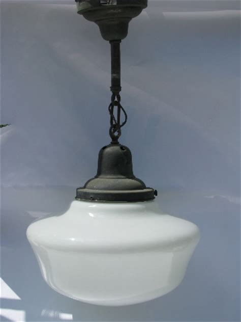 Schoolhouse Pendant Light Fixture Vintage Schoolhouse Pendant Light Fixture Original Hardware Glass Shade