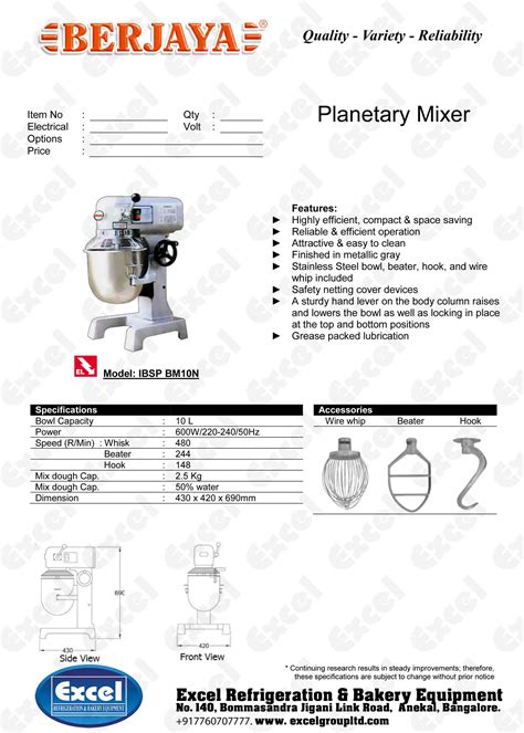 Mixer Berjaya 10 Liter berjaya planetary mixer bm10n excel refrigeration
