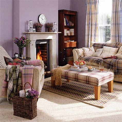 highland themed living room highland living room with tartan furnishings housetohome co uk