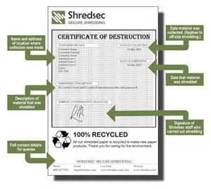 Certification Of Destruction Letter Shredsec Com Certificate Of Destruction