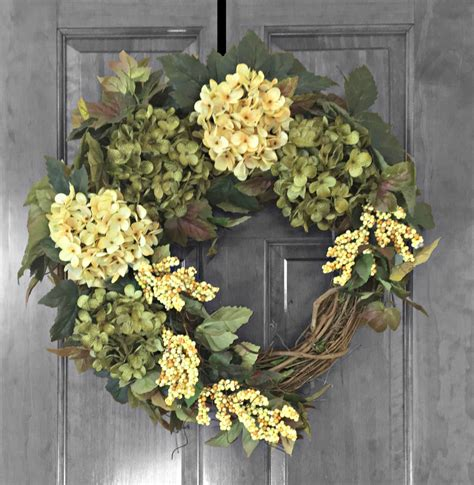 outdoor wreaths summer wreath front door wreaths green hydrangea wreath