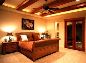 Wall Sconces In Bedroom Master Bedroom With Wood Beams Mediterranean Bedroom