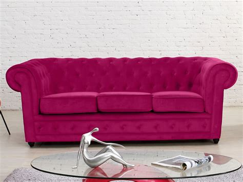 canape fushia canap 233 3 places en velours coloris fushia chesterfield
