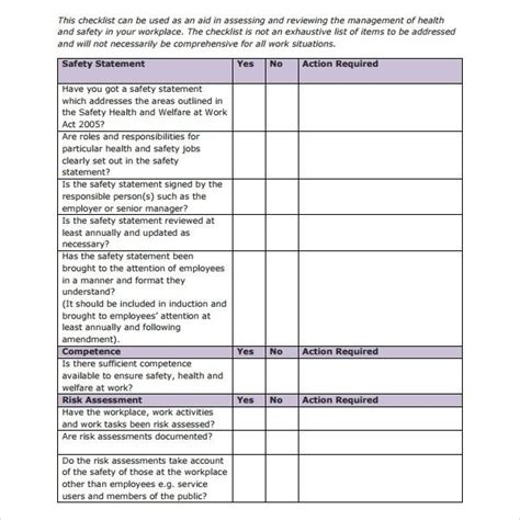 Monthly Safety Checklist Template Exles And Forms Monthly Safety Inspection Template