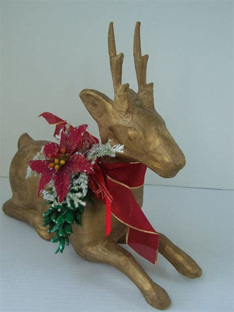 12 quot gold paper mache reindeer centerpiece woodland green