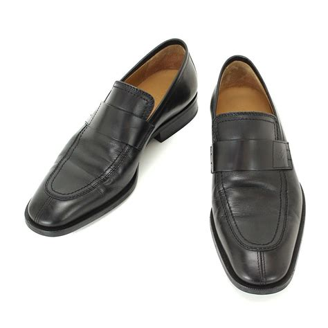 auth louis vuitton business shoes leather black s size