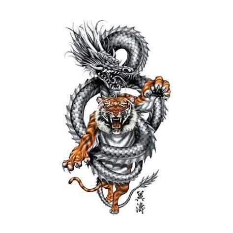 tiger dragon fight temporary tattoo
