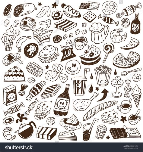 fast doodle fast food doodles set stock vector illustration