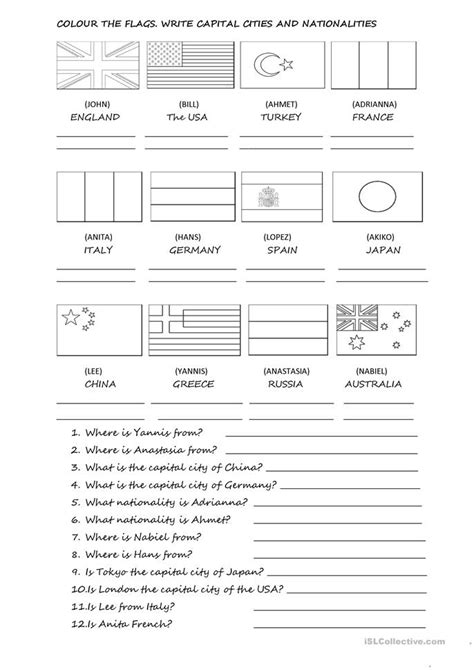 Capital Essay Pdf by Capital Cities Countries And Nationalities Worksheet Free Esl Printable Worksheets Made By