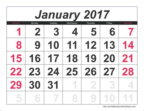 january 2017 calendar 6 templates landscape printable