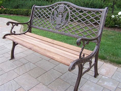 cast iron wood bench oakland living cast iron wood american eagle bench