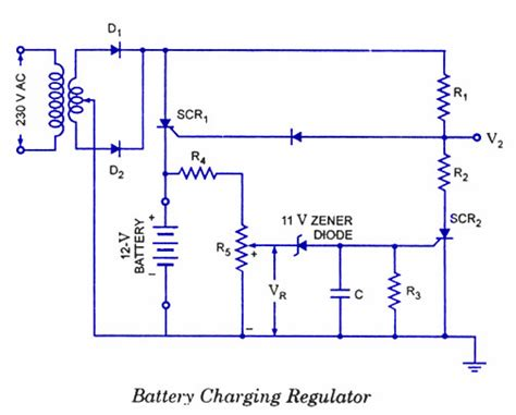 scr controlled battery charger circuit diagram scr applications electronic circuits and diagrams